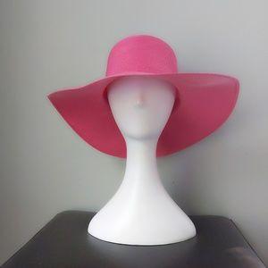 Vtg Sears Hot Flamingo Pink Poly Straw Floppy Hat